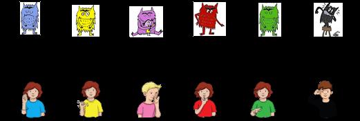 Imágenes que muestran algunas emociones y sentimientos, como la tristeza, la alegría y el amor, en lenguaje de señas.