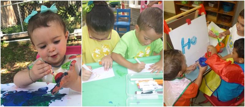 Tres fotos que muestran a niños creando arte mediante pintura en papel
